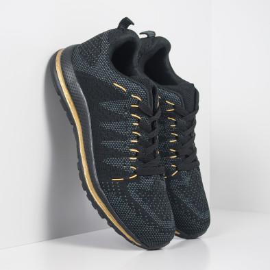 Плетени мъжки маратонки в черно и златисто it251019-5 3