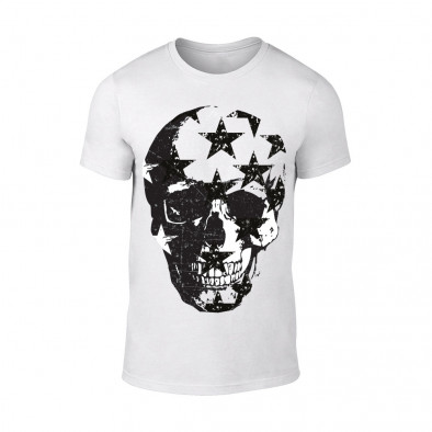 Мъжка бяла тениска Skull TMN-M-099 2