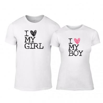 Тениски за двойки Love My Girl Love My Boy бели TMN-CP-026 2