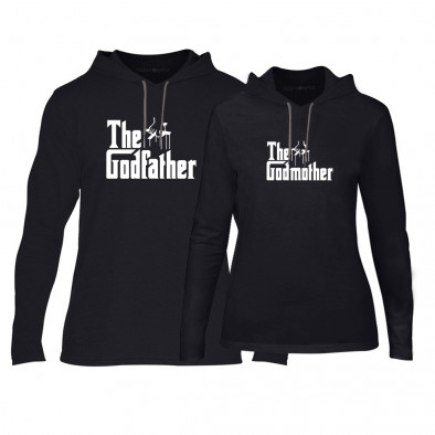 Суичъри за двойки Godfather & Godmother в черно TMN-CPS-063 2