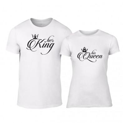 Тениски за двойки King & Queen бели TMN-CP-013 2