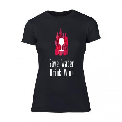 Дамска черна тениска Save Water Drink Wine TMN-F-076 2