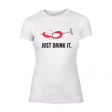 Дамска бяла тениска Just Drink It TMN-F-001 2