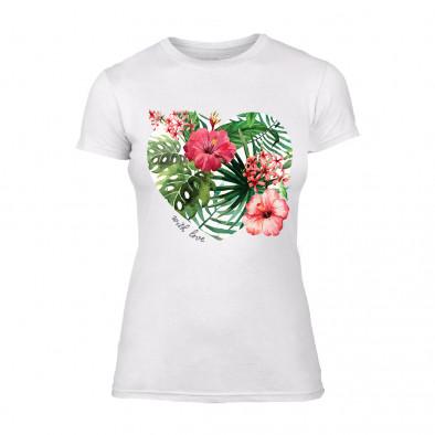 Дамска бяла тениска Exotic Flowers TMN-F-013 2