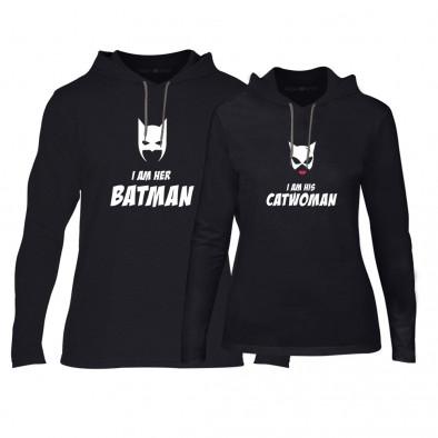 Суичъри за двойки Batman & Catwoman в черно TMN-CPS-049 2