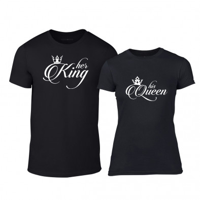Тениски за двойки King & Queen черни TMN-CP-014 3