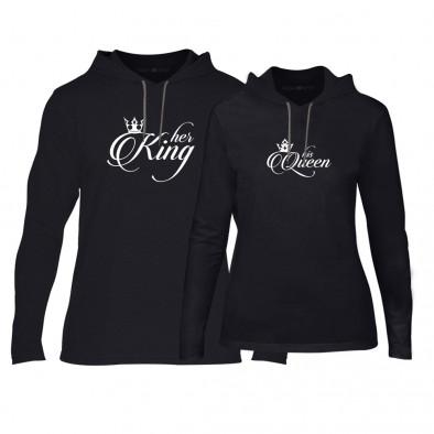 Суичъри за двойки King & Queen в черно TMN-CPS-014 2