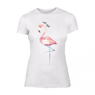 Дамска бяла тениска Flamingo TMN-F-009 2