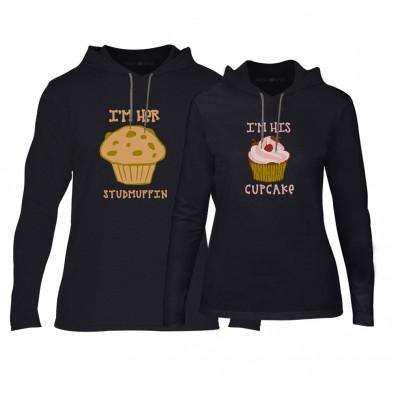Суичъри за двойки Muffin Cupcake в черно TMN-CPS-176 2