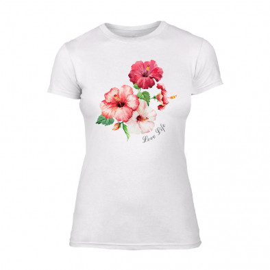 Дамска бяла тениска Flowers TMN-F-005 2