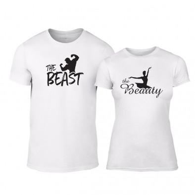 Тениски за двойки Beauty & Beast бели TMN-CP-009 2