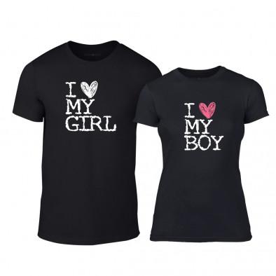 Тениски за двойки Love My Girl Love My Boy черни TMN-CP-027 2