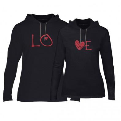 Суичъри за двойки LOVE в черно TMN-CPS-053 2