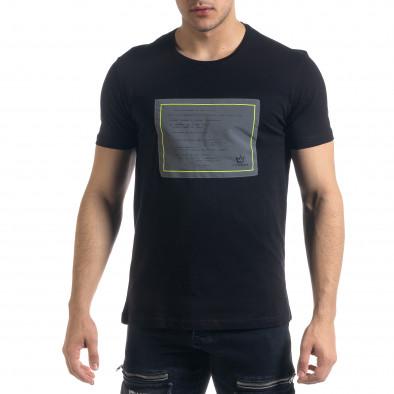 Мъжка черна тениска с апликация tr110320-36 2