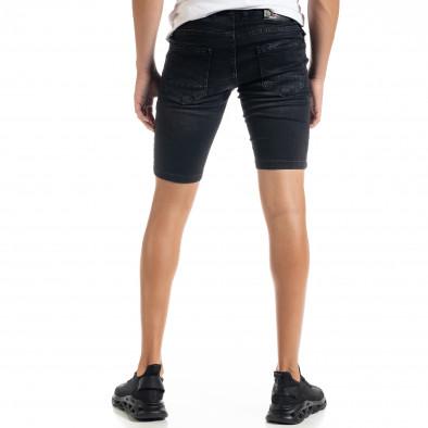 Slim fit мъжки черни къси дънки с прокъсвания tr010720-15 3