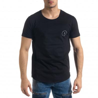 Мъжка черна тениска с ципове tr110320-48 3