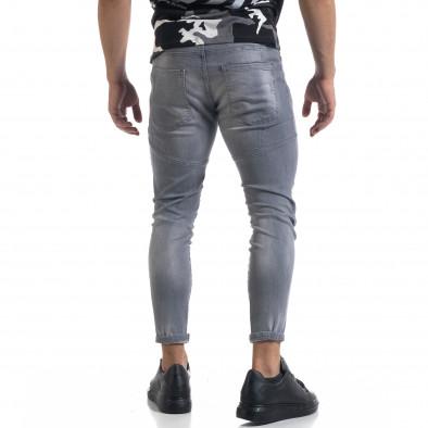 Мъжки сиви дънки Slim fit с пръски боя tr110320-113 3