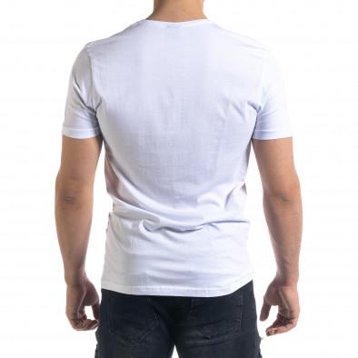 Бяла мъжка тениска с джоб tr110320-39 3