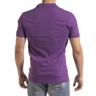 Мъжка тениска пике Polo shirt в лилаво tr110320-16 3