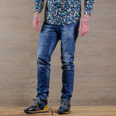 Slim fit мъжки изтъркани дънки в синьо tr030420-4 3