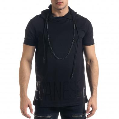 Черна мъжка тениска с качулка tr110320-63 2