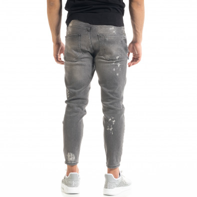 Slim fit мъжки сиви дънки Destroyed с кръпки  tr050620-3 4