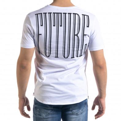 Мъжка бяла тениска с ципове tr110320-47 4