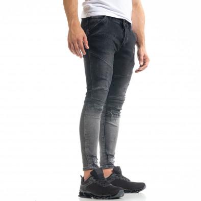 Skinny fit мъжки черни дънки Biker Destroyed tr050620-1 2