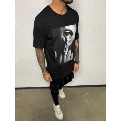 Черна мъжка тениска с принт tr110320-80 3
