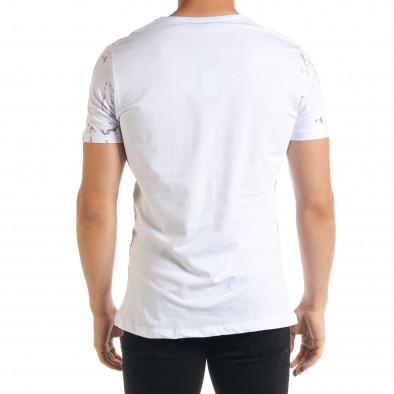 Мъжка бяла тениска с принт Splash tr080520-19 3