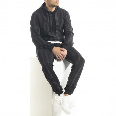 Мъжки памучен черен анцуг с качулка и принт tr240420-18 4