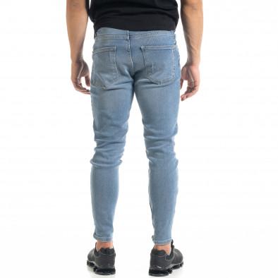Slim fit мъжки сини дънки с прокъсвания и кръпки tr050620-4 4