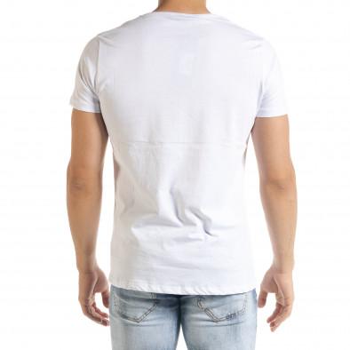 Бяла мъжка тениска с прозрачен джоб tr080520-32 3