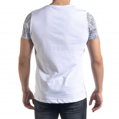 Мъжка бяла тениска с принт Brooklyn tr110320-33 3