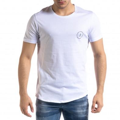 Мъжка бяла тениска с ципове tr110320-47 3