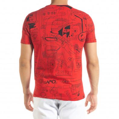 Мъжка червена тениска с принт Naivety tr080520-15 3
