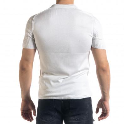 Slim fit мъжка плетена блуза в бяло tr110320-56 3