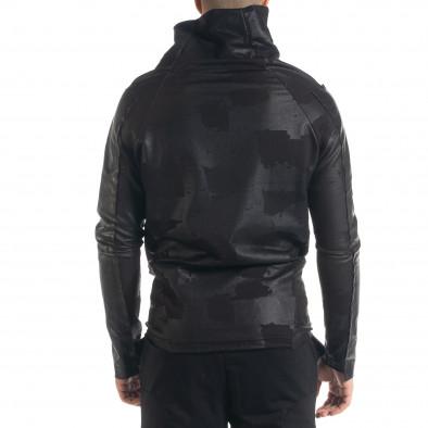 Асиметричен мъжки суичър с кожени детайли tr240420-14 4