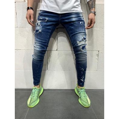 Destroyed Slim fit мъжки сини дънки tr110320-116 3