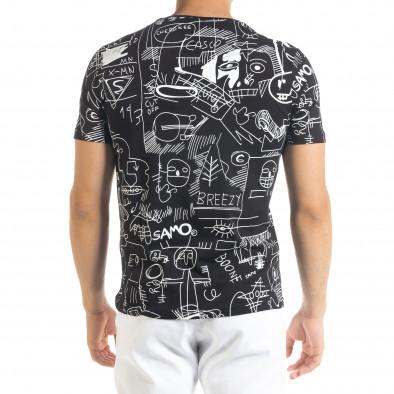 Мъжка черна тениска с принт Naivety tr080520-13 3