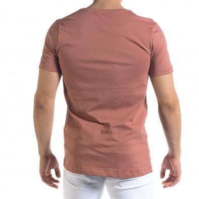 Мъжка розова тениска с принт tr110320-70 3