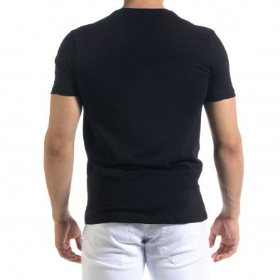 Мъжка черна тениска с принт tr110320-53 3