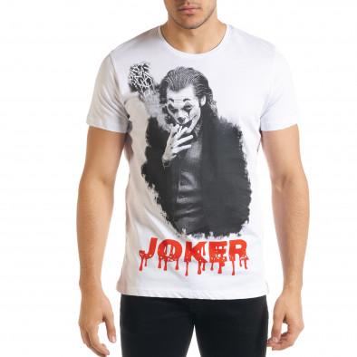 Мъжка бяла тениска JOKER tr080520-27 2