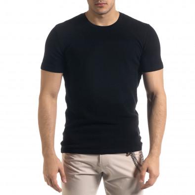 Basic мъжка плетена блуза пике в черно tr110320-58 2