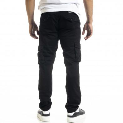 Черен мъжки панталон Cargo с прави крачоли tr240420-27 4