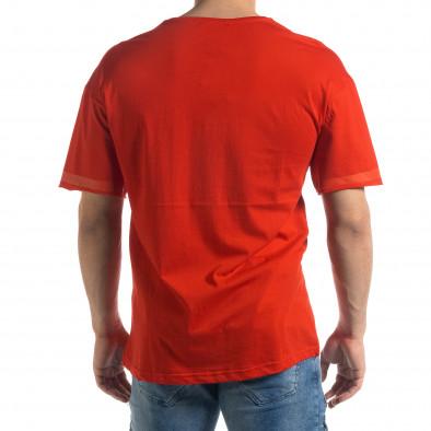Червена мъжка тениска с принт tr110320-37 3