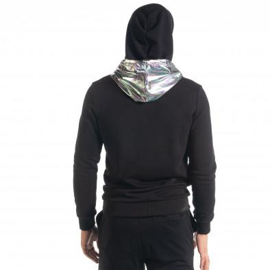 Мъжки черен суичър с лъскава качулка tr240420-16 3