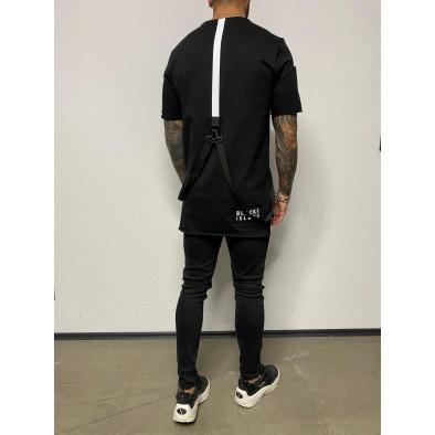 Удължена черна тениска с акценти tr110320-84 3