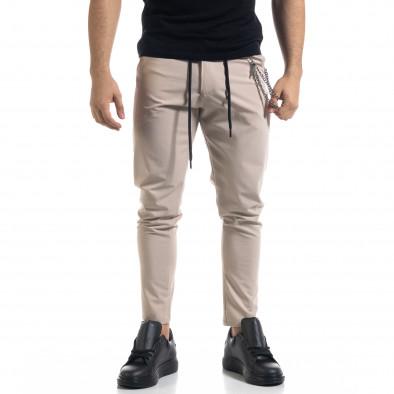 Лек мъжки бежов панталон с аксесоар tr110320-120 2
