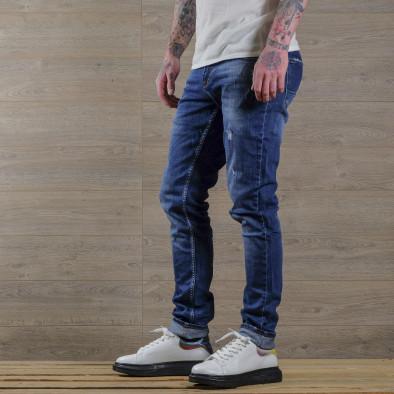 Slim fit мъжки сини дънки с леки прокъсвания tr030420-1 3